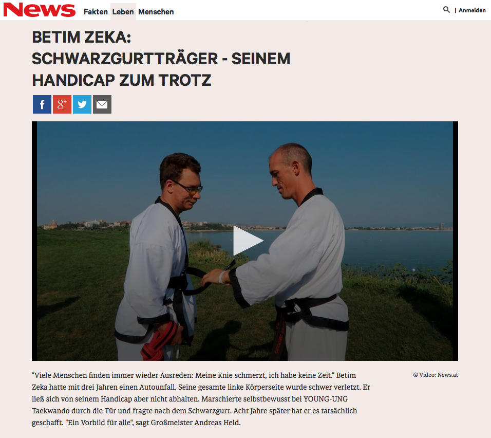 YOUNG-UNG Taekwondo Betim Zeka Schwarzgurt Handicap NEWS.AT