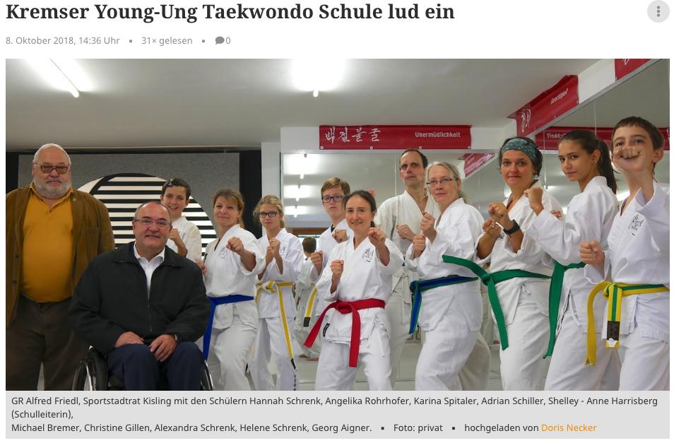Meinbezirk.at YOUNG-UNG Taekwondo Krems Tag der offenen Türe Kisling