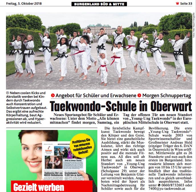 Kronen Zeitung YOUNG-UNG Taekwondo Oberwart
