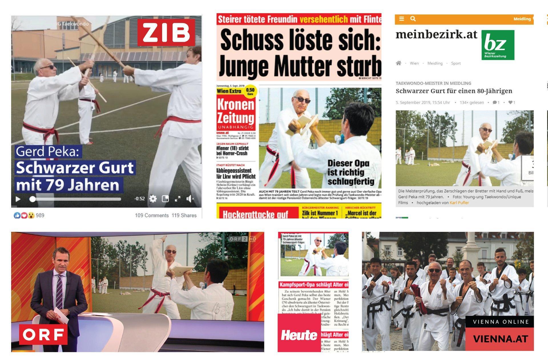 YOUNG-UNG Taekwondo Gerd Peka ORF Kronen Zeitung Heute Zeitung Bezirkszeitung Vienna.at