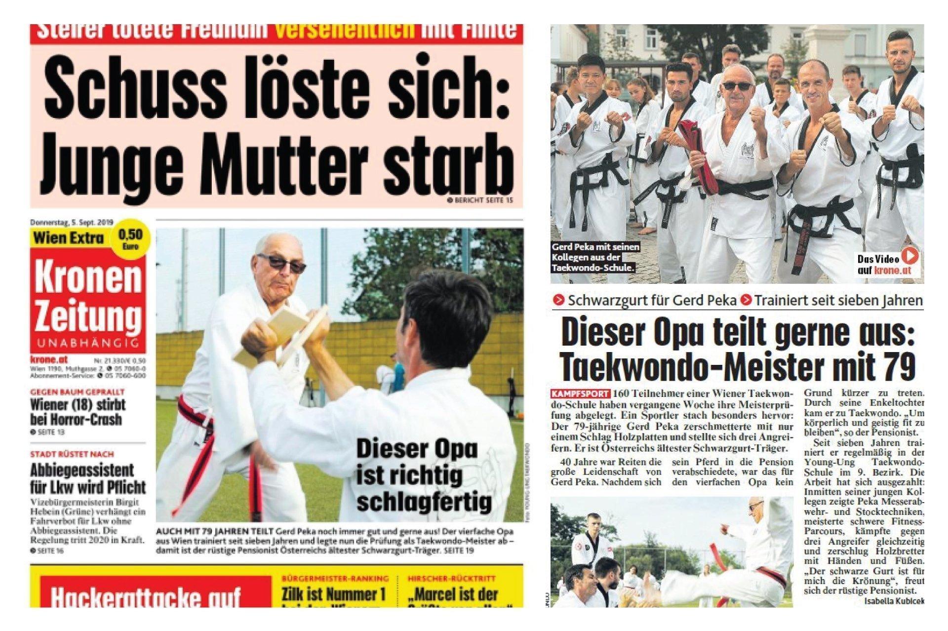 YOUNG-UNG Taekwondo Gerd Peka Kronen Zeitung