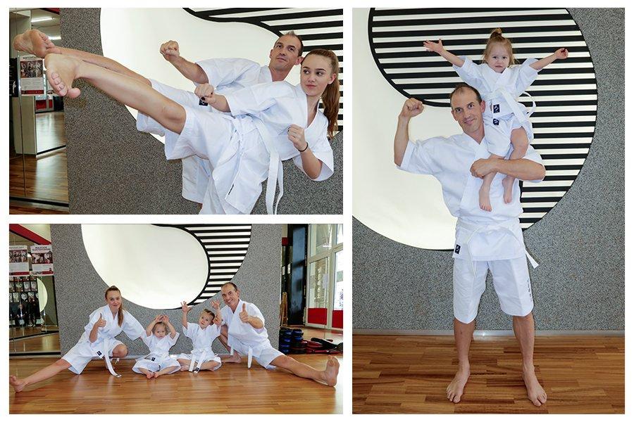 Familie in neuen Taekwondo Anzug