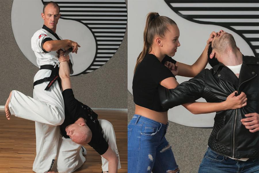 Dr. Andreas Held mit Knie Stoß zum Kopf und Celine kratzt Angreifer in die Augen