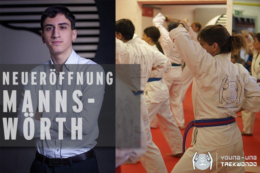 Junger Bursche im Anzug mit verschränkten Armen,Taekwondogruppe