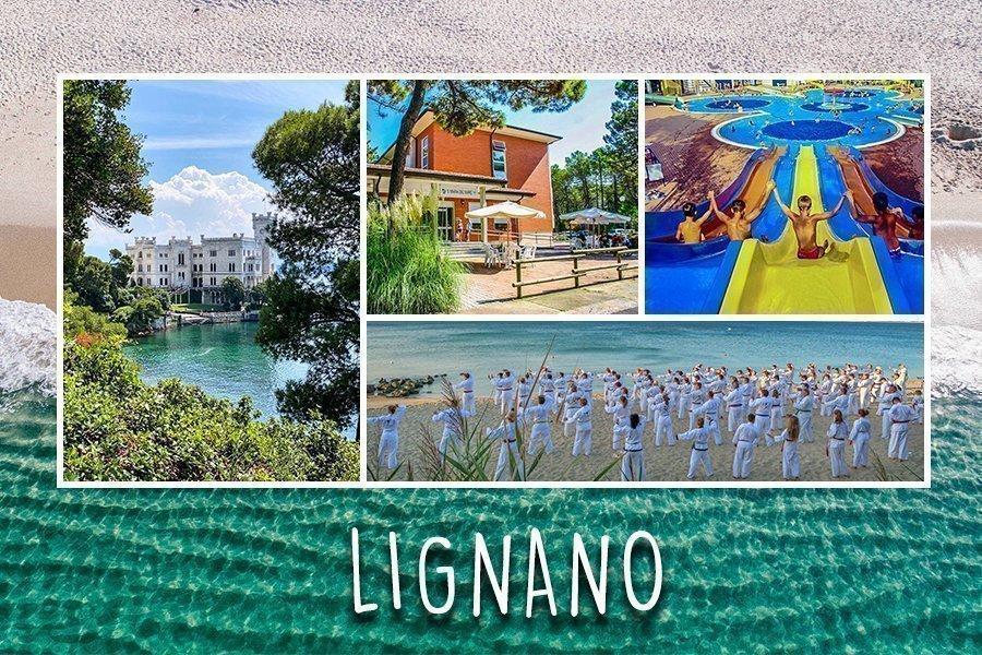Bild Collage für das Italien Camp. Links das Schloss Miramare, oben im Bild ein Bungalow und Kinder die im Wasserpark Rutschen. Unten rechts eine Taekwondo Gruppe die am Meer trainieren.