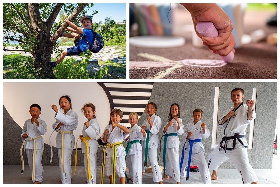 Bild Collage: oben Linke ein kleiner Junge der am Baum klettert, oben rechts eine Kinderhand die mit Kreide malt. Unten eine Taekwondo-Gruppe mit Kindern im Kampfanzug.