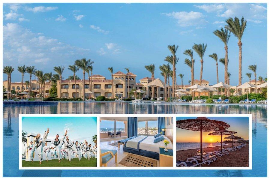 Bild Collage Hotelanlage CLEOPATRA LUXURY RESORT MAKADI BAY, unten 3 Bilder: Taekwondo Gruppe, Hotelzimmer und Sonnenuntergang am Strand.