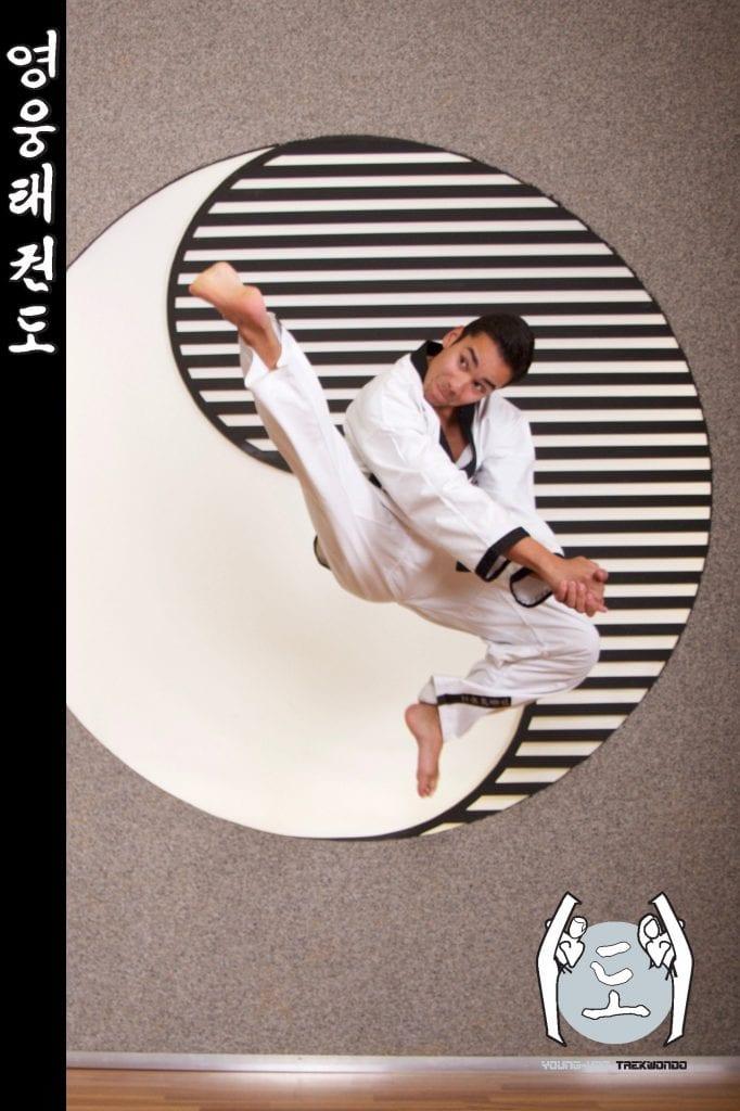 Taekwondo-Trainer mittleren Alters in Taekwondo Pose aus Zweigstelle 1020 Wien