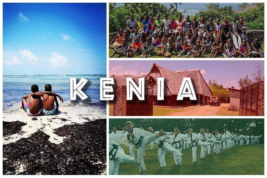 Bild Collage: Links im Bild zwei afrikanische Burschen die aufs blaue Meer blicken. Rechts im Bild das Kenianische Kinderdorf in Msambweni und dir Gruppe der Dorfbewohner.