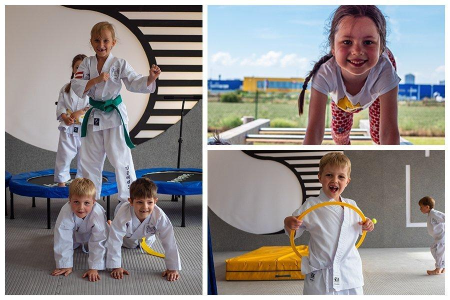 Bild Collage: alt der rechten Seite sind der Kinder zu sehen die eine Menschen-Pyramide machen, links unten ist ein junges Mädchen im Park, links oben ein kleiner Junge mit Hula-Hoop Reifen.
