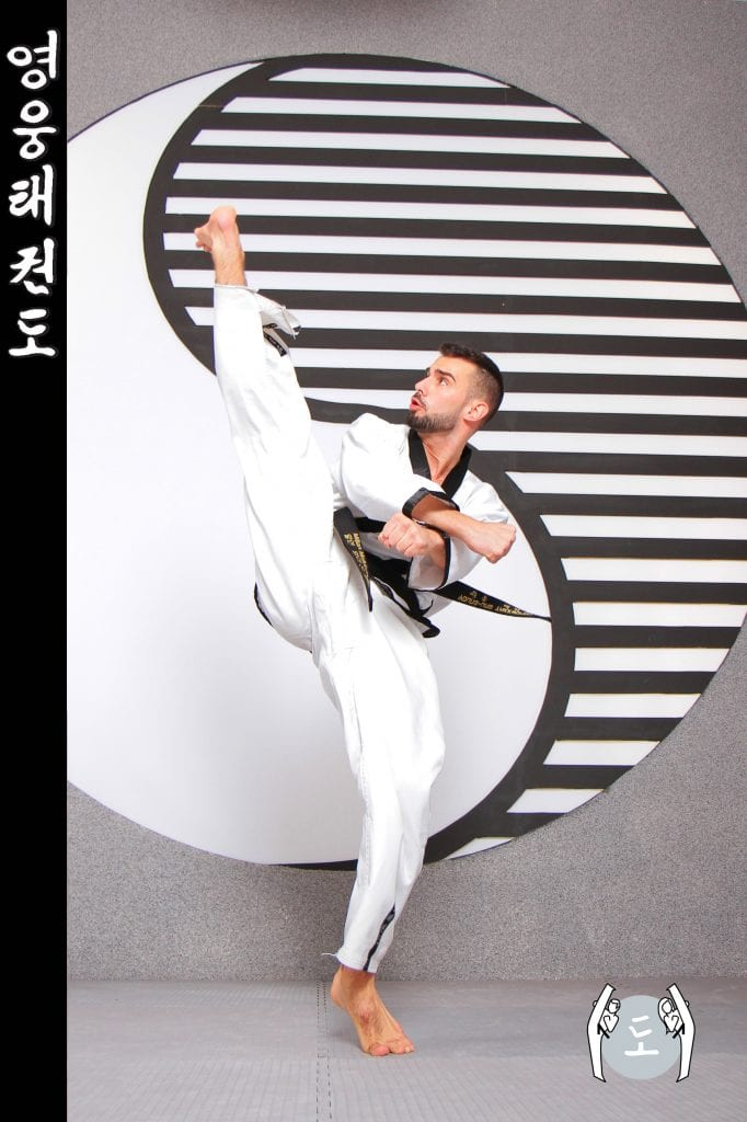 Taekwondo-Trainer in Taekwondo Kick Pose aus Zweigstelle 1220 Wien