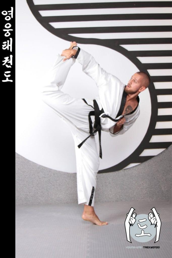 Taekwondo-Trainer mittleren Alters in Taekwondo Pose aus Zweigstelle 1030 Wien