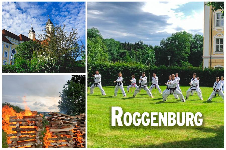 Bild Collage: oben Links ist das Kloster Roggenburg zu sehen, unten Links ein Lagerfeuer, auf der rechten Seite sind Personen im Kampfanzug zu sehen, die gerade Trainieren