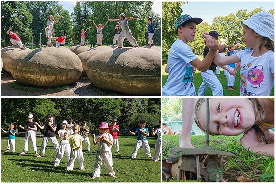 Bild Collage: oben link sind Kinder zu sehen, die auf Steinen balancieren, links unten ist eine Gruppe von Kindern die im Park Taekwondo trainieren. Auf der rechten Seite oben trainiert ein Bub und ein Mädchen Abwehrtechniken. Rechts unten lacht ein Mädchen in die Kamera.