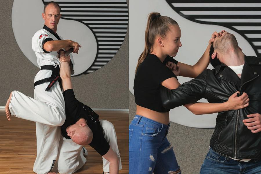 Bild Collage: links im Bild ein erwachsener Mann im Kampfanzug der einen Angreifer abwehrt. Rechts im Bild ein junges Mädchen das sich selbstverteidigt.