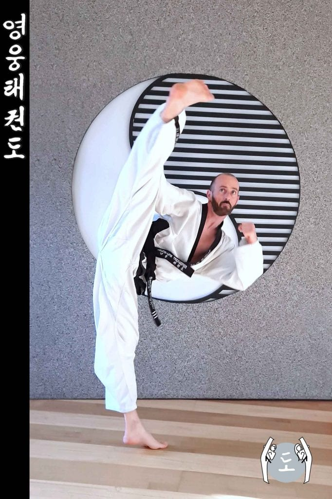Taekwondo-Trainer in Taekwondo Sprung Pose aus Zweigstelle 8010 Graz