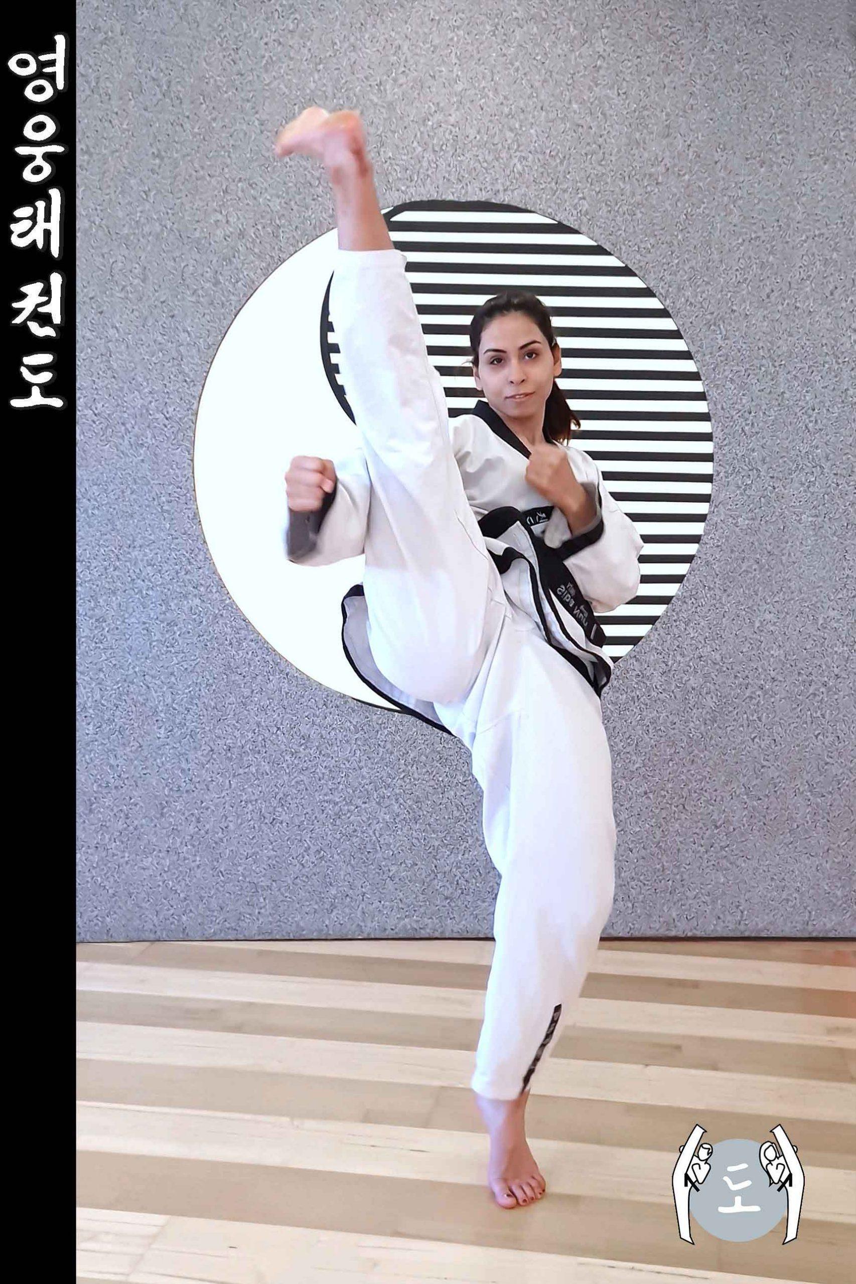 Taekwondo-Trainerin in Taekwondo Kampfstellung Pose aus Zweigstelle 8010 Graz