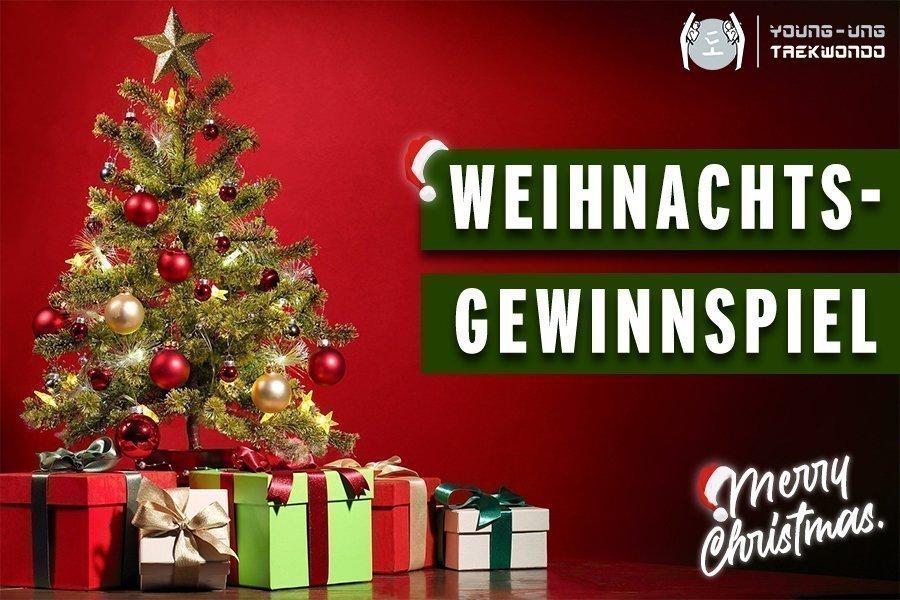 Weihnachtsgewinnspiel, Christbaum mit Geschenkepäckchen