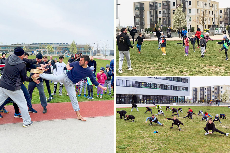 Kinder und Jugendliche trainieren auf einer Wiese