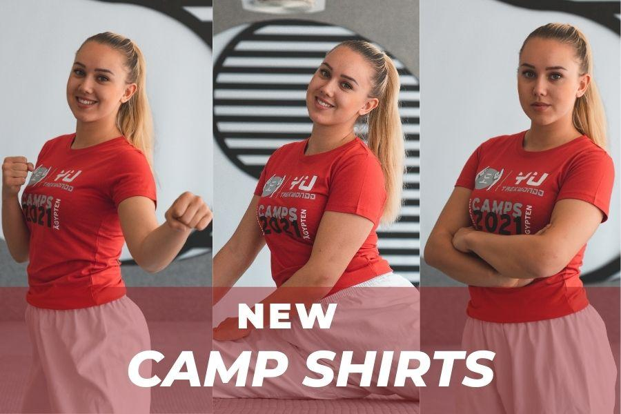 Junges Mädchen mit rotem Camp T-Shirt